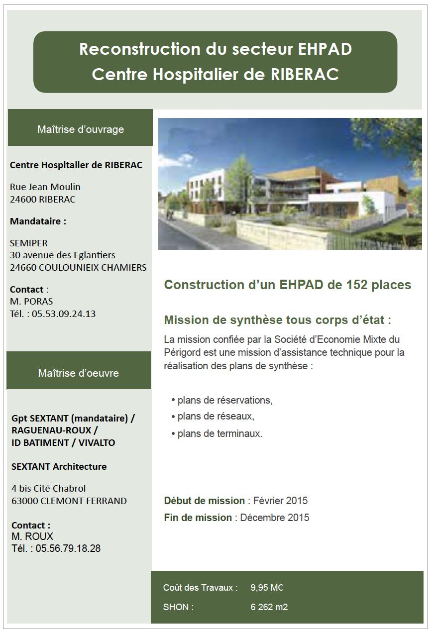 Reconstruction du secteur EHPAD de Riberac